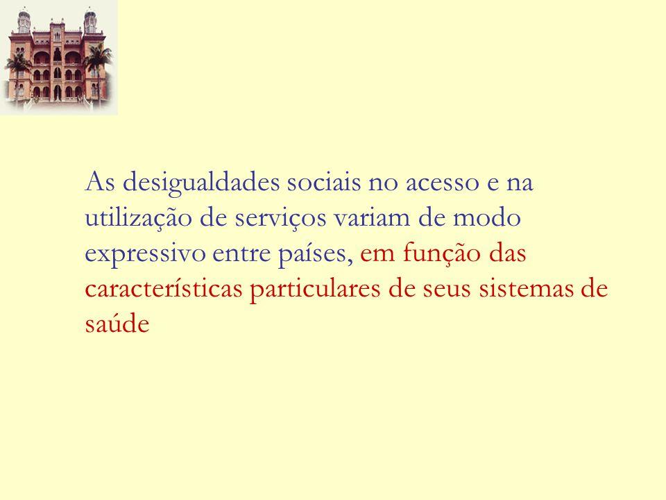 As desigualdades sociais no acesso e na utilização de serviços variam de modo expressivo entre países, em função das características particulares de s