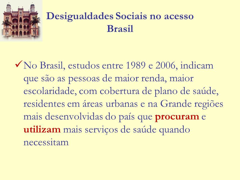 Desigualdades Sociais no acesso Brasil No Brasil, estudos entre 1989 e 2006, indicam que são as pessoas de maior renda, maior escolaridade, com cobert