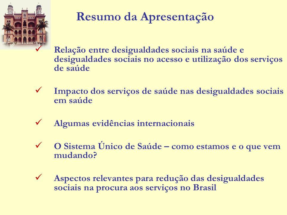 Resumo da Apresentação Relação entre desigualdades sociais na saúde e desigualdades sociais no acesso e utilização dos serviços de saúde Impacto dos s