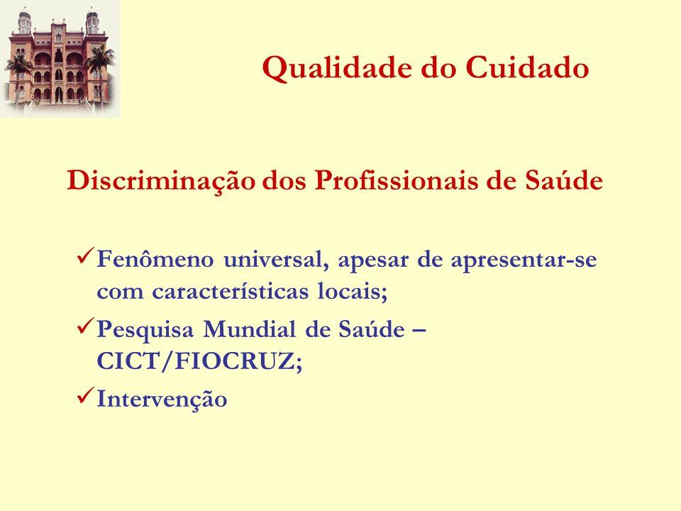Qualidade do Cuidado Discriminação dos Profissionais de Saúde Fenômeno universal, apesar de apresentar-se com características locais; Pesquisa Mundial