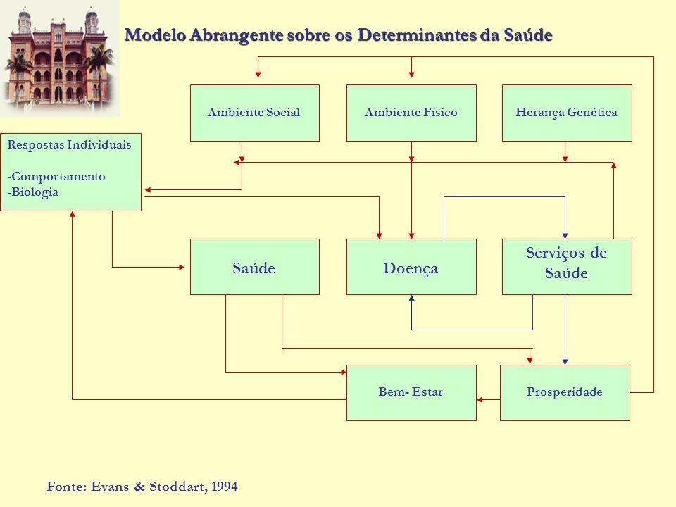 Modelo Abrangente sobre os Determinantes da Saúde Ambiente SocialAmbiente FísicoHerança Genética Serviços de Saúde Doença ProsperidadeBem- Estar Saúde