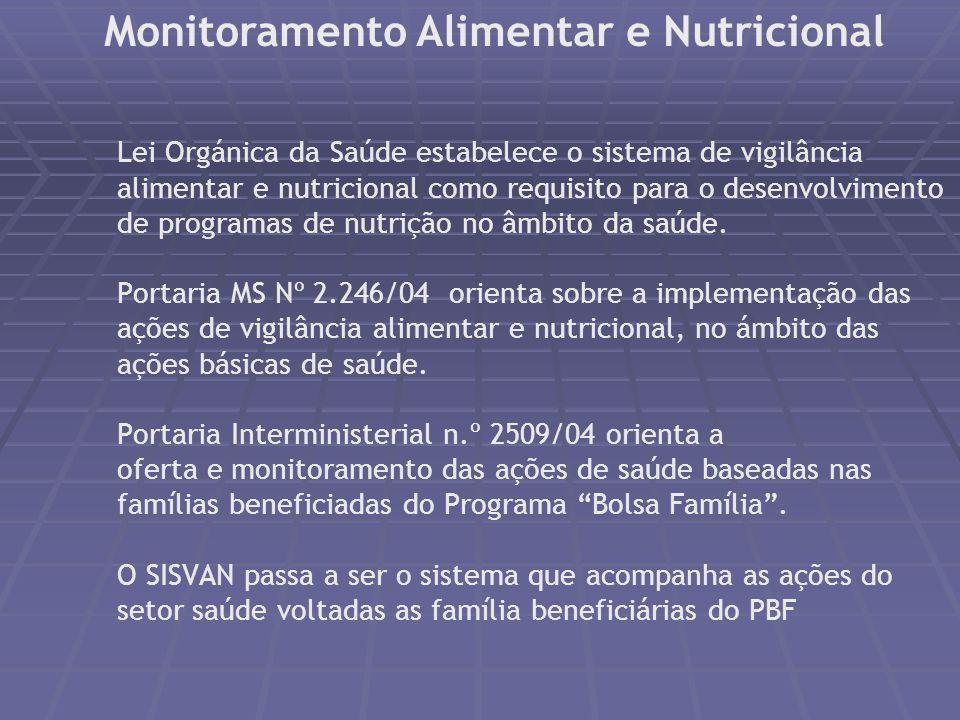 Monitoramento alimentar e nutricional Conhecer e acompanhar a situação nutricional da população brasileira Descrever continuamente as tendências de sa