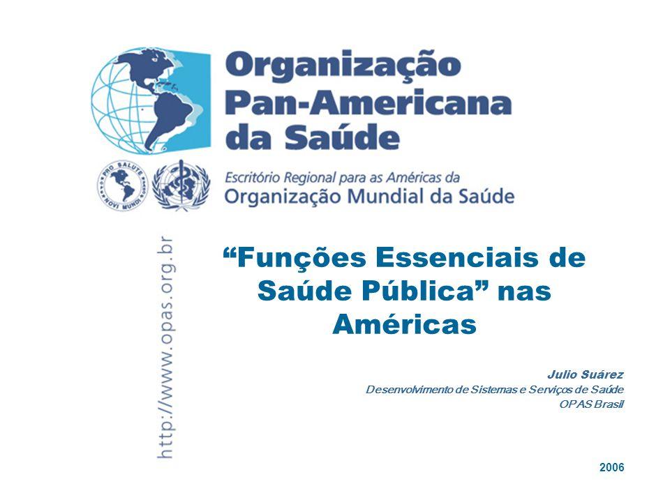 2006 Julio Suárez Desenvolvimento de Sistemas e Serviços de Saúde OPAS Brasil Funções Essenciais de Saúde Pública nas Américas