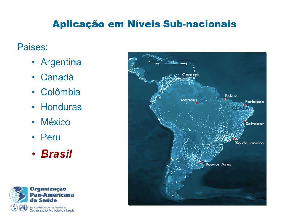 Aplicação em Níveis Sub-nacionais Paises: Argentina Canadá Colômbia Honduras México Peru Brasil