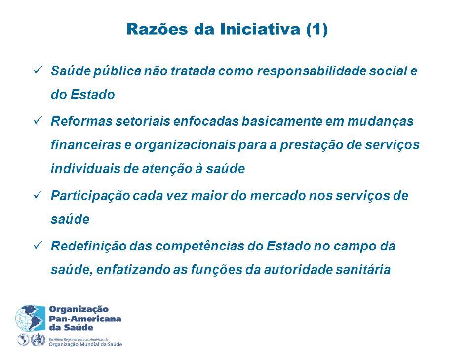 Necessidade de fortalecer e desenvolver uma política de saúde de caráter supra-setorial Conciliação entre abordagens local, nacional e internacional; e entre estatal e social em relação ao desenvolvimento da saúde e bem-estar Necessidade de fortalecer a participação cidadã em saúde Razões da Iniciativa (2)