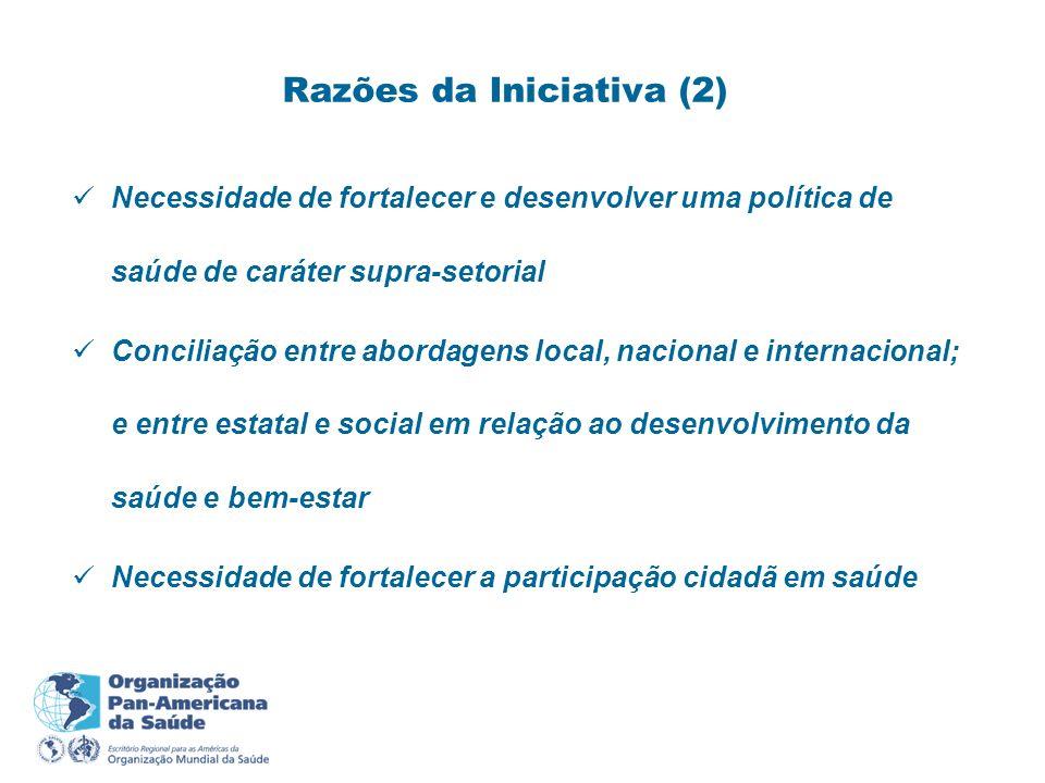 Necessidade de fortalecer e desenvolver uma política de saúde de caráter supra-setorial Conciliação entre abordagens local, nacional e internacional;