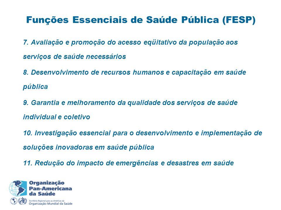 7. Avaliação e promoção do acesso eqüitativo da população aos serviços de saúde necessários 8. Desenvolvimento de recursos humanos e capacitação em sa