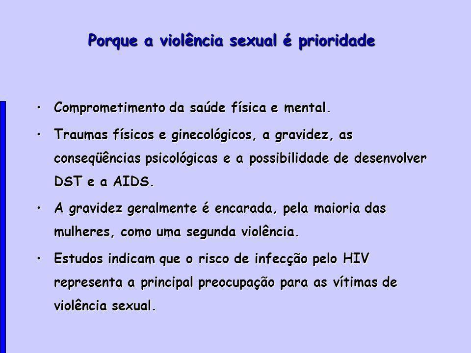 Porque a violência sexual é prioridade Comprometimento da saúde física e mental.Comprometimento da saúde física e mental.