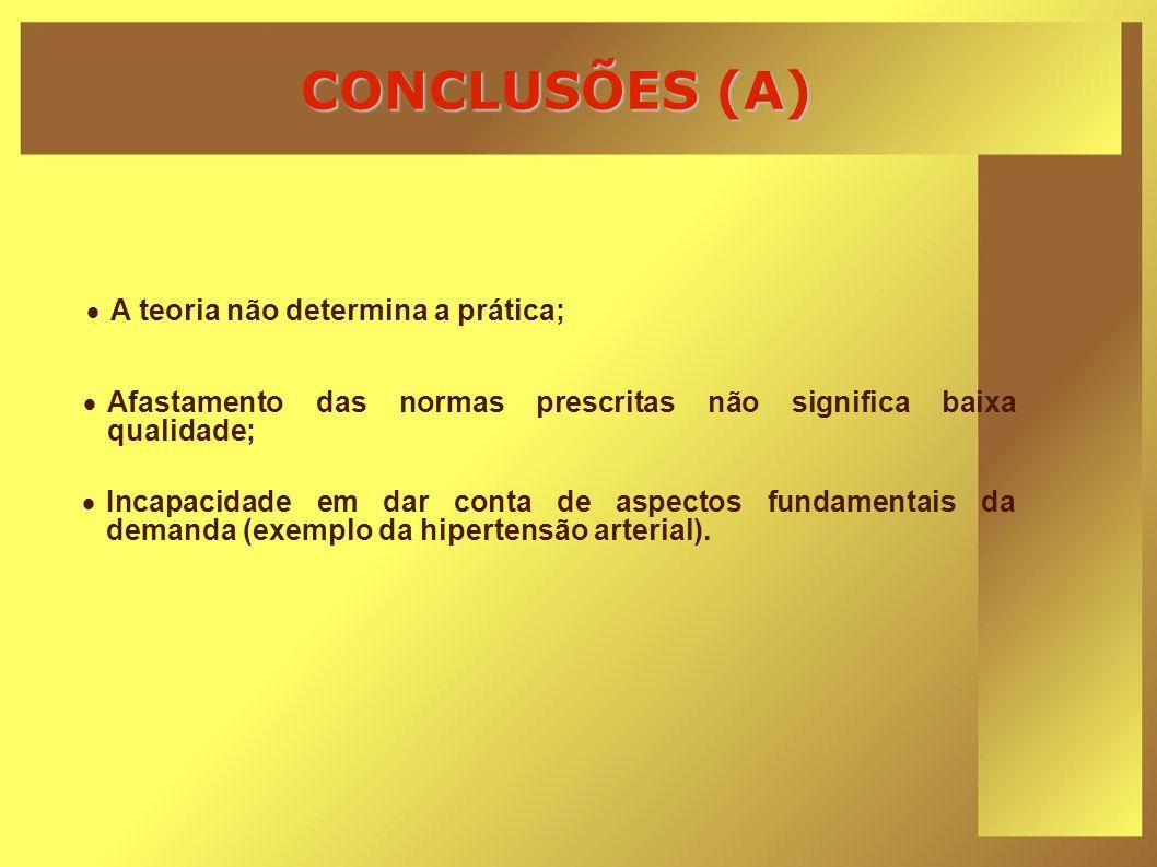 CONCLUSÕES (A) A teoria não determina a prática; Afastamento das normas prescritas não significa baixa qualidade; Incapacidade em dar conta de aspecto