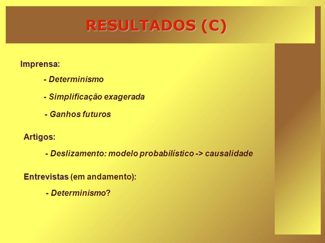 RESULTADOS (C) Imprensa Imprensa: - Determinismo? Entrevistas Entrevistas (em andamento): - Deslizamento: modelo probabilístico -> causalidade Artigos