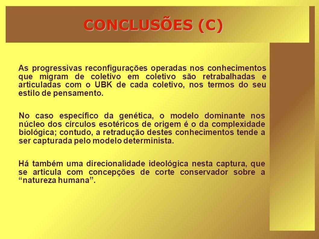 CONCLUSÕES (C) As progressivas reconfigurações operadas nos conhecimentos que migram de coletivo em coletivo são retrabalhadas e articuladas com o UBK