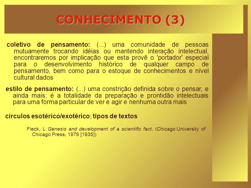 CONHECIMENTO (3) Fleck, L Genesis and development of a scientific fact. (Chicago:University of Chicago Press, 1979 [1935]) coletivo de pensamento: (..