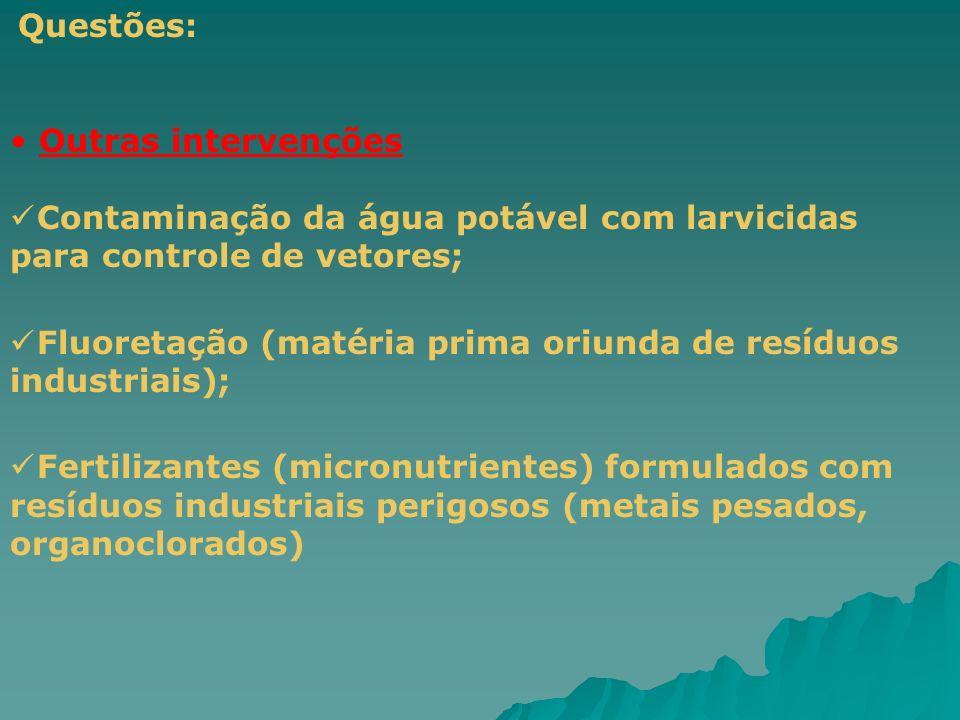Questões: Outras intervenções Contaminação da água potável com larvicidas para controle de vetores; Fluoretação (matéria prima oriunda de resíduos ind