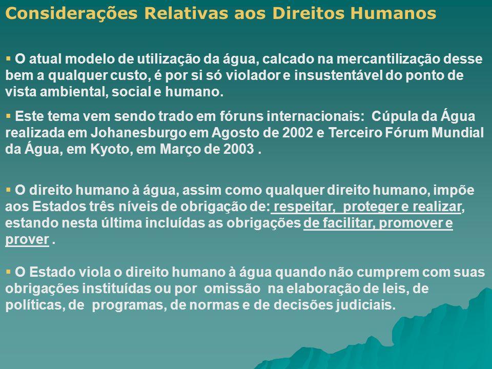 Considerações Relativas aos Direitos Humanos O atual modelo de utilização da água, calcado na mercantilização desse bem a qualquer custo, é por si só