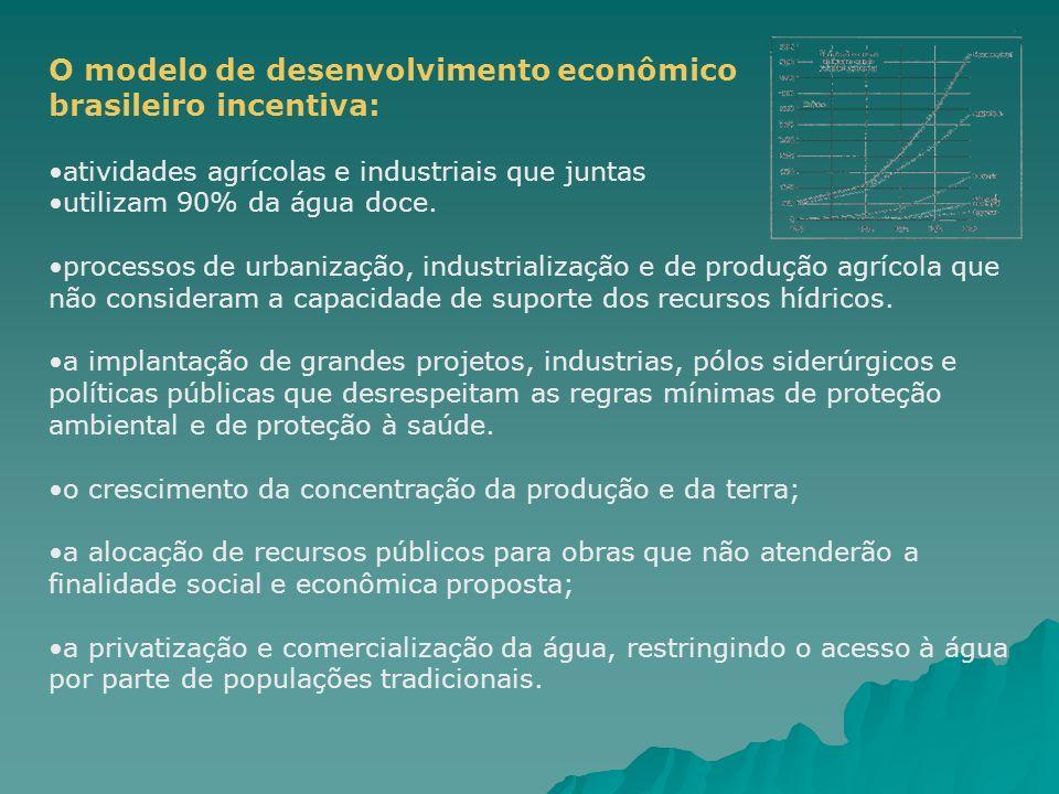 O modelo de desenvolvimento econômico brasileiro incentiva: atividades agrícolas e industriais que juntas utilizam 90% da água doce. processos de urba