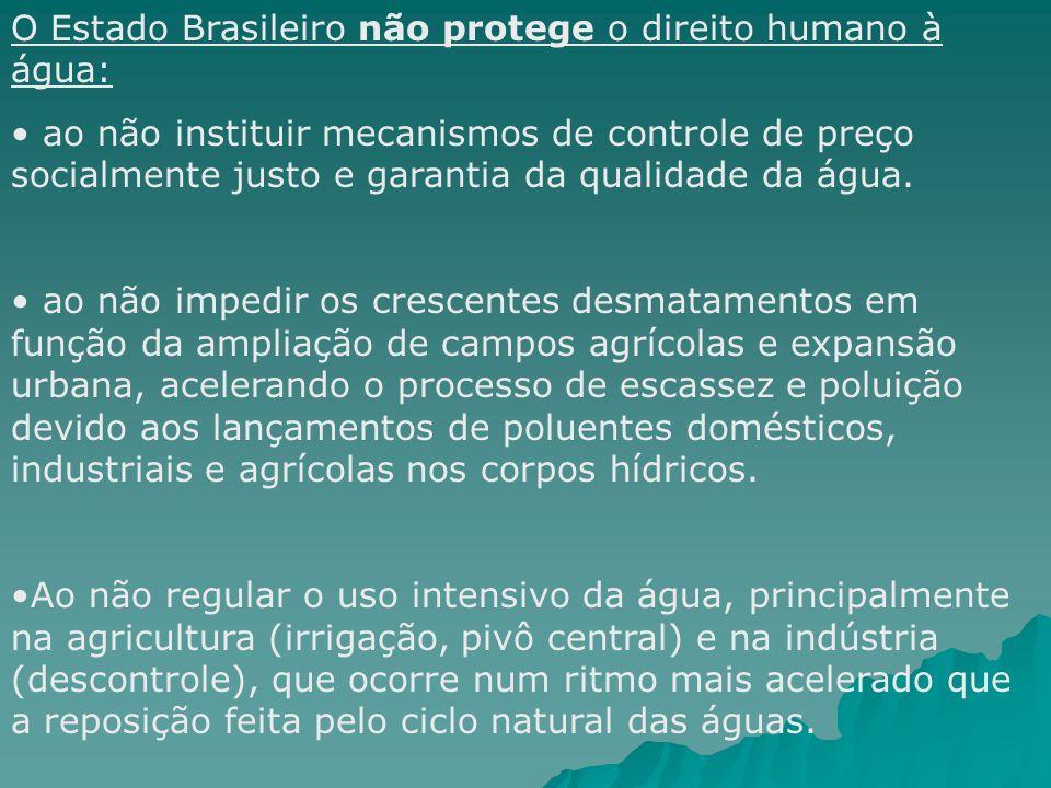 O Estado Brasileiro não protege o direito humano à água: ao não instituir mecanismos de controle de preço socialmente justo e garantia da qualidade da