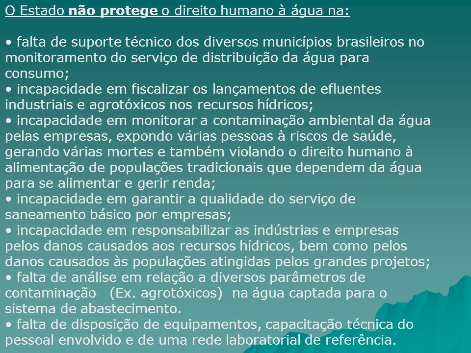 O Estado não protege o direito humano à água na: falta de suporte técnico dos diversos municípios brasileiros no monitoramento do serviço de distribui
