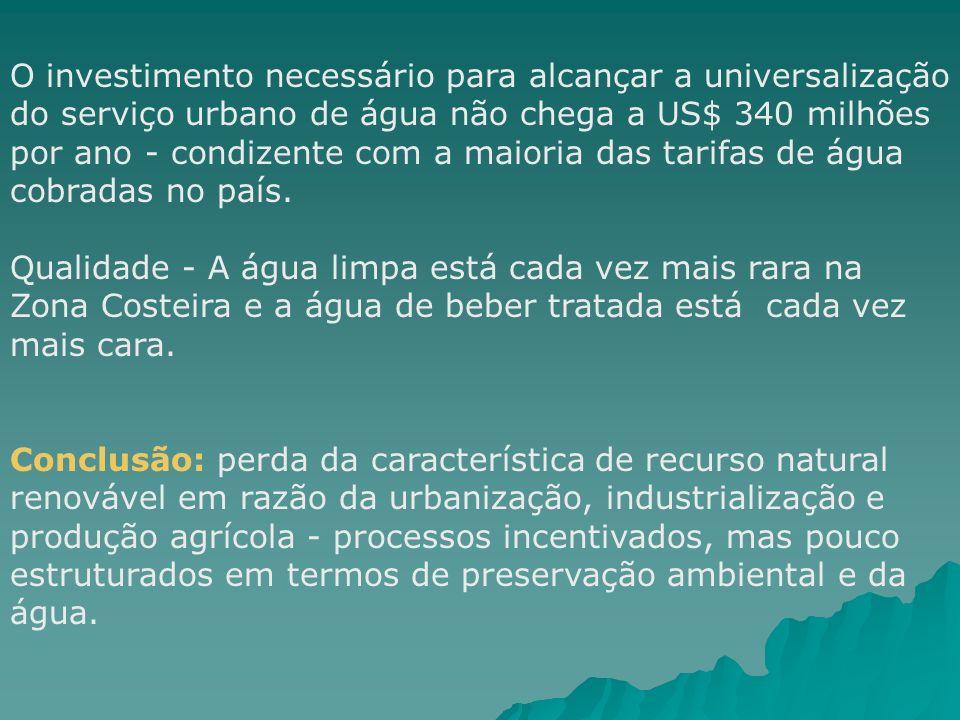 O investimento necessário para alcançar a universalização do serviço urbano de água não chega a US$ 340 milhões por ano - condizente com a maioria das