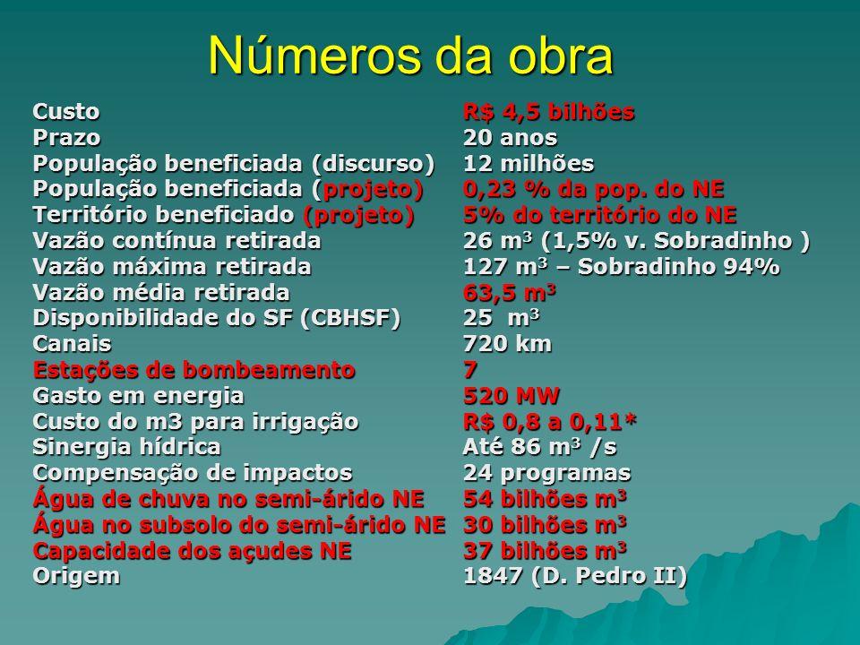 Números da obra CustoR$ 4,5 bilhões Prazo20 anos População beneficiada (discurso)12 milhões População beneficiada (projeto)0,23 % da pop. do NE Territ
