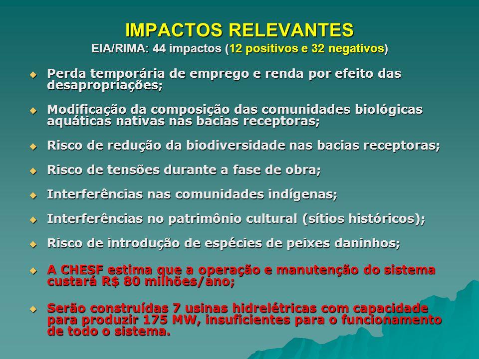IMPACTOS RELEVANTES EIA/RIMA: 44 impactos (12 positivos e 32 negativos) Perda temporária de emprego e renda por efeito das desapropriações; Perda temp