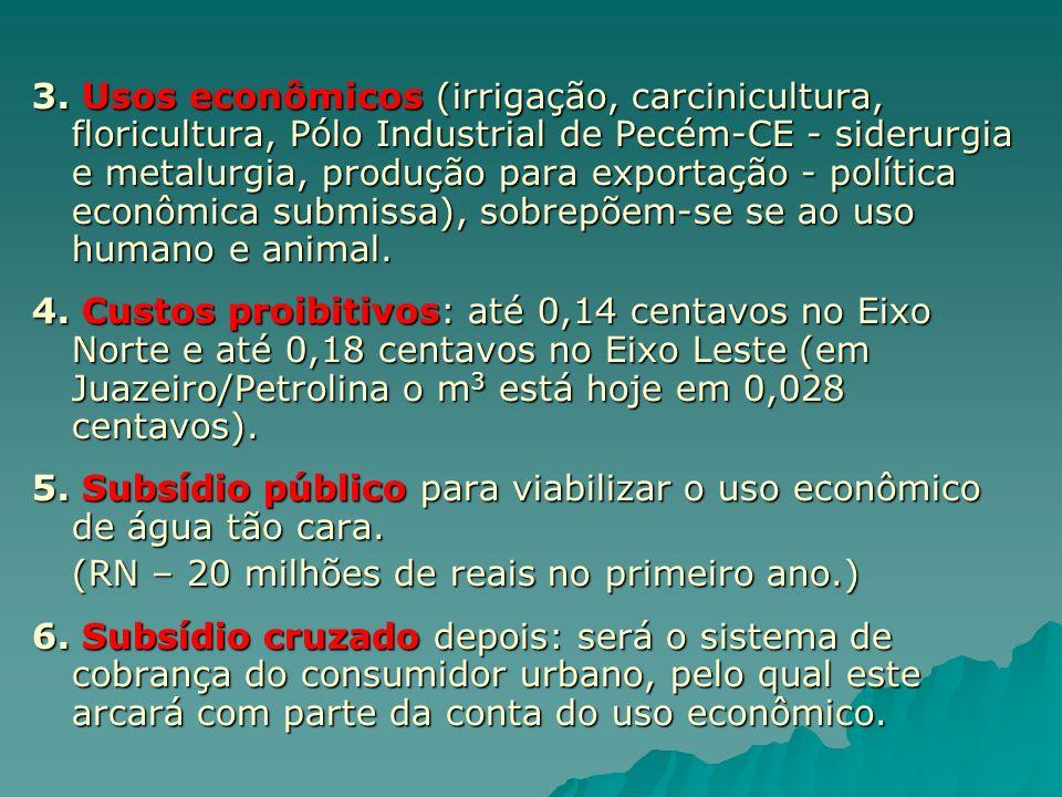 3. Usos econômicos (irrigação, carcinicultura, floricultura, Pólo Industrial de Pecém-CE - siderurgia e metalurgia, produção para exportação - polític