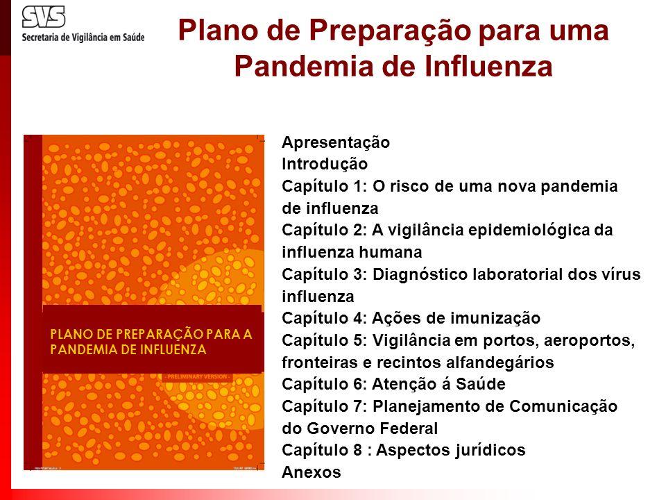Plano de Preparação para uma Pandemia de Influenza PLANO DE PREPARAÇÃO PARA A PANDEMIA DE INFLUENZA Apresentação Introdução Capítulo 1: O risco de uma