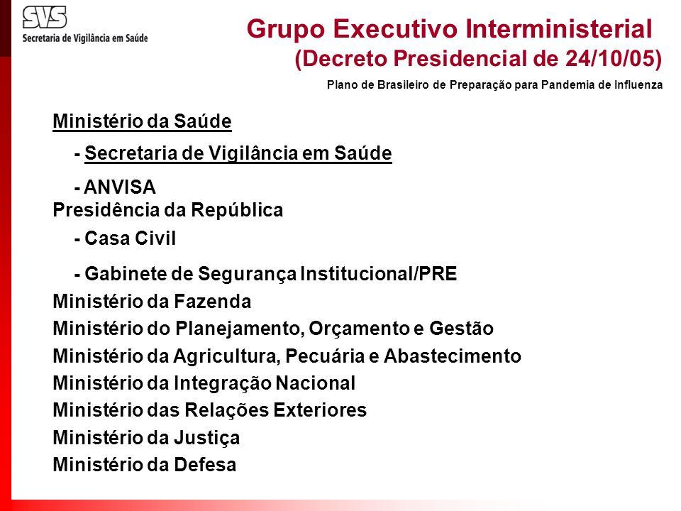Grupo Executivo Interministerial (Decreto Presidencial de 24/10/05) Ministério da Saúde - Secretaria de Vigilância em Saúde - ANVISA Presidência da Re