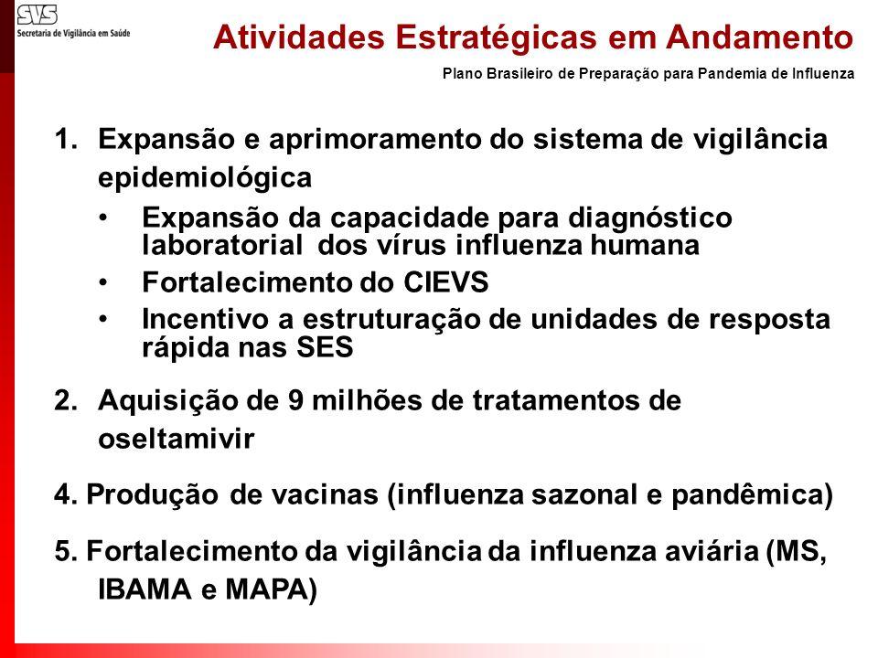 Atividades Estratégicas em Andamento 1.Expansão e aprimoramento do sistema de vigilância epidemiológica Expansão da capacidade para diagnóstico labora