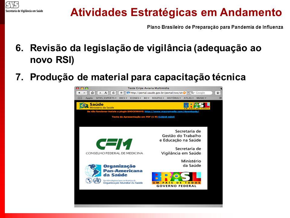 Plano Brasileiro de Preparação para Pandemia de Influenza Atividades Estratégicas em Andamento 6.Revisão da legislação de vigilância (adequação ao nov
