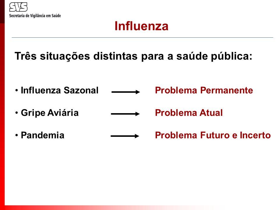 Influenza Três situações distintas para a saúde pública: Influenza SazonalProblema Permanente Gripe AviáriaProblema Atual PandemiaProblema Futuro e In