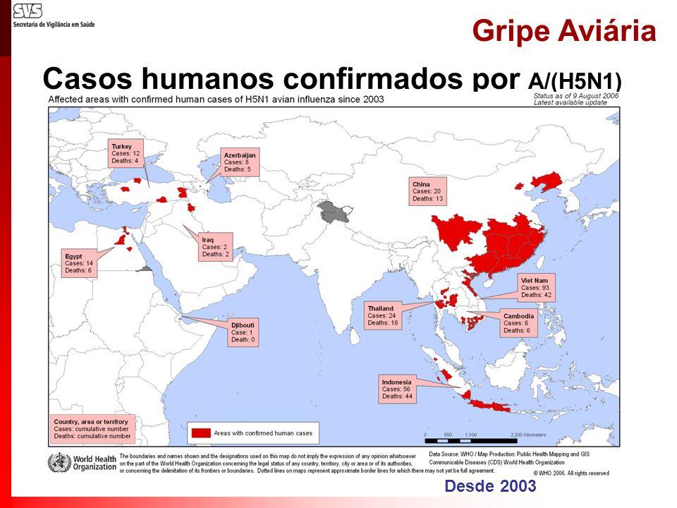Gripe Aviária Casos humanos confirmados por A/(H5N1) Até 09/08/2006 País 2003200420052006Total casosóbitoscasosóbitoscasosóbitoscasosóbitoscasosóbitos Azerbaijão0000008585 Cambodja0000442266 China1100851172013 Djibuti0000001010 Egito000000146 6 Indonésia0000171139335644 Iraque0000002222 Tailândia00171252222416 Turquia000000124 4 Viet Nam3329206119009342 Total44463295419161236138