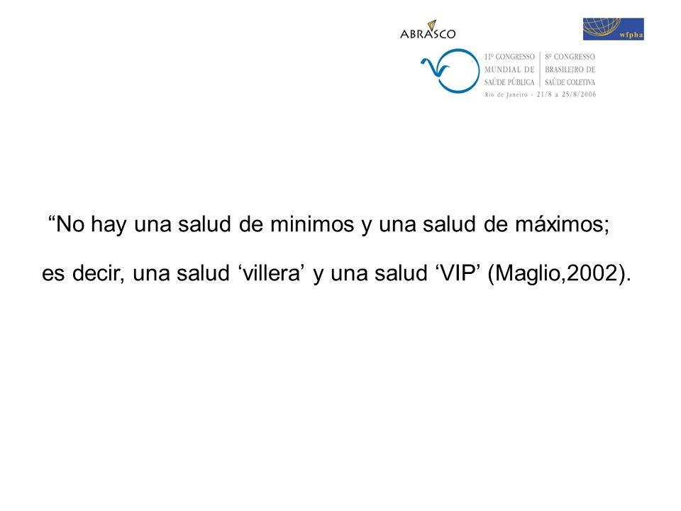 No hay una salud de minimos y una salud de máximos; es decir, una salud villera y una salud VIP (Maglio,2002).