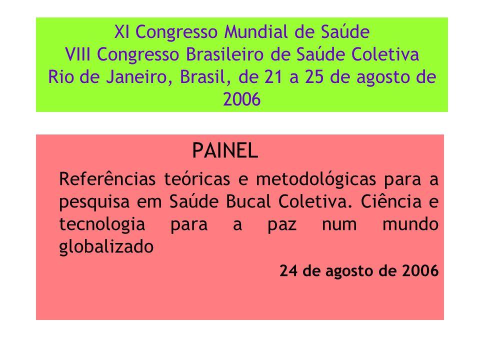 XI Congresso Mundial de Saúde VIII Congresso Brasileiro de Saúde Coletiva Rio de Janeiro, Brasil, de 21 a 25 de agosto de 2006 PAINEL Referências teór