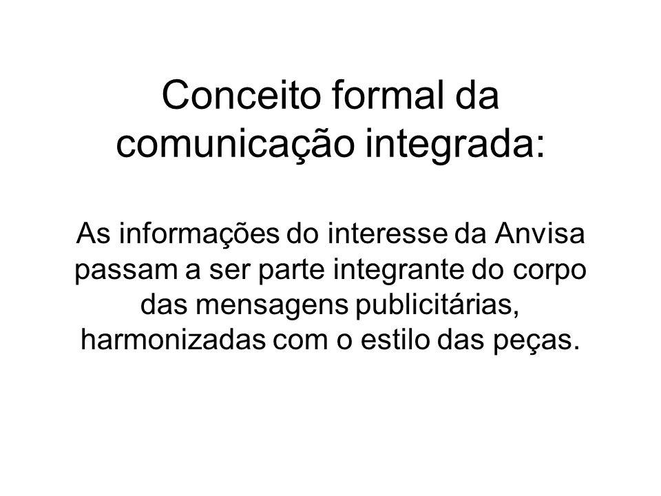 Conceito formal da comunicação integrada: As informações do interesse da Anvisa passam a ser parte integrante do corpo das mensagens publicitárias, ha