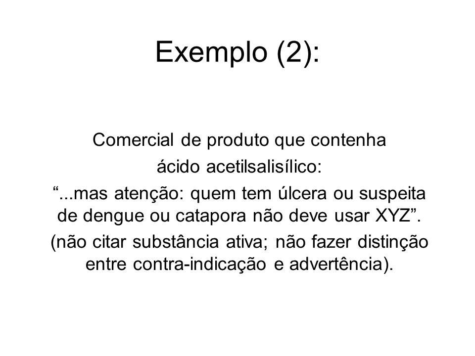 Exemplo (2): Comercial de produto que contenha ácido acetilsalisílico:...mas atenção: quem tem úlcera ou suspeita de dengue ou catapora não deve usar