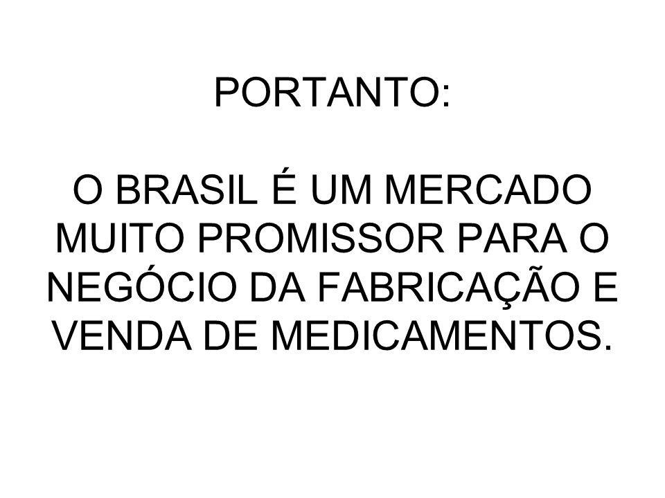 PORTANTO: O BRASIL É UM MERCADO MUITO PROMISSOR PARA O NEGÓCIO DA FABRICAÇÃO E VENDA DE MEDICAMENTOS.