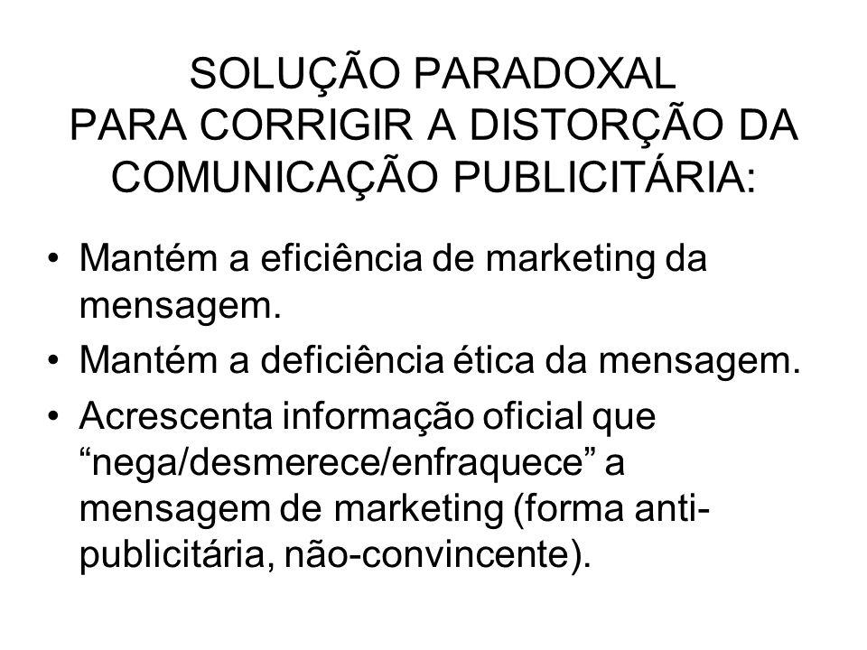 SOLUÇÃO PARADOXAL PARA CORRIGIR A DISTORÇÃO DA COMUNICAÇÃO PUBLICITÁRIA: Mantém a eficiência de marketing da mensagem. Mantém a deficiência ética da m