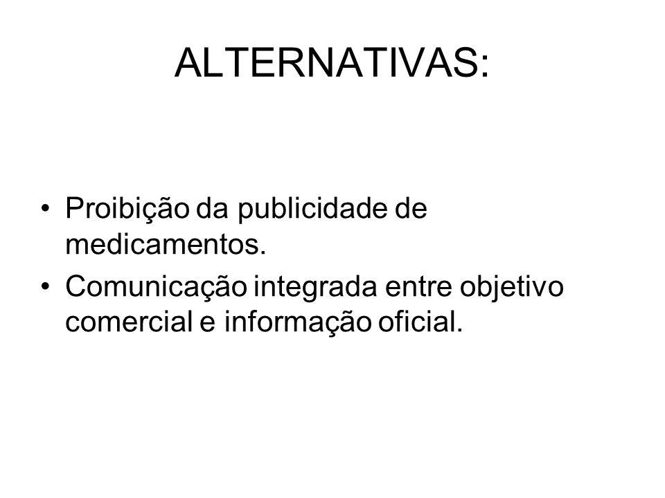 ALTERNATIVAS: Proibição da publicidade de medicamentos. Comunicação integrada entre objetivo comercial e informação oficial.