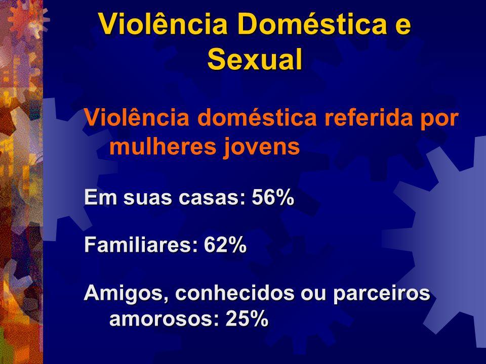 Violência Doméstica e Sexual Violência doméstica referida por mulheres jovens Em suas casas: 56% Familiares: 62% Amigos, conhecidos ou parceiros amoro