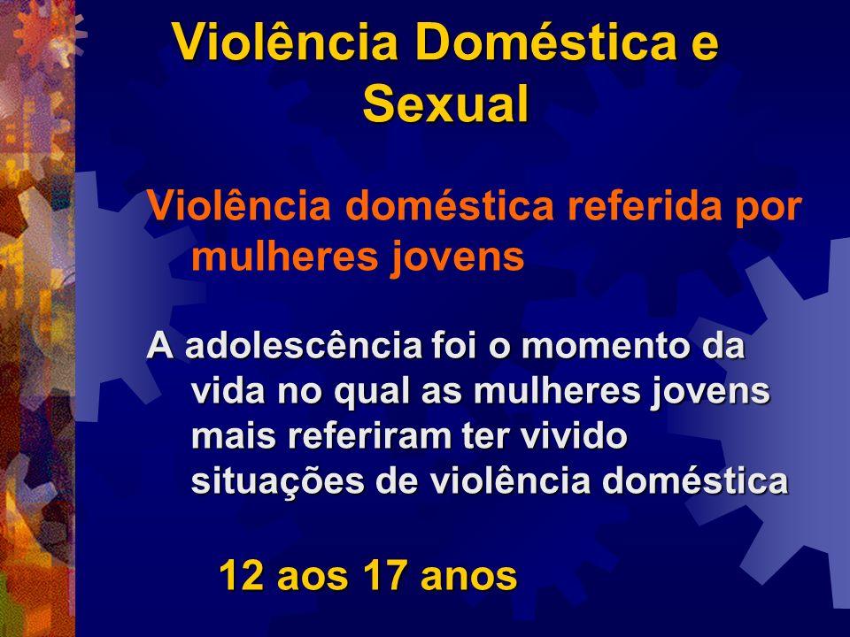 Violência Doméstica e Sexual Violência doméstica referida por mulheres jovens A adolescência foi o momento da vida no qual as mulheres jovens mais ref