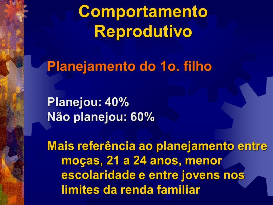 Planejamento do 1o. filho Planejou: 40% Não planejou: 60% Mais referência ao planejamento entre moças, 21 a 24 anos, menor escolaridade e entre jovens