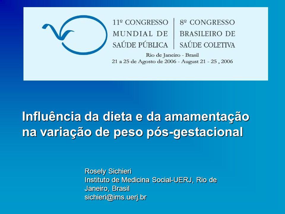 Influência da dieta e da amamentação na variação de peso pós-gestacional Rosely Sichieri Instituto de Medicina Social-UERJ, Rio de Janeiro, Brasil sic
