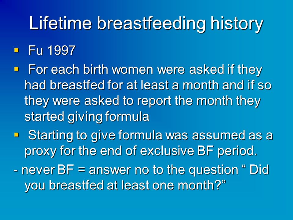 Lifetime breastfeeding history Fu 1997 Fu 1997 For each birth women were asked if they had breastfed for at least a month and if so they were asked to
