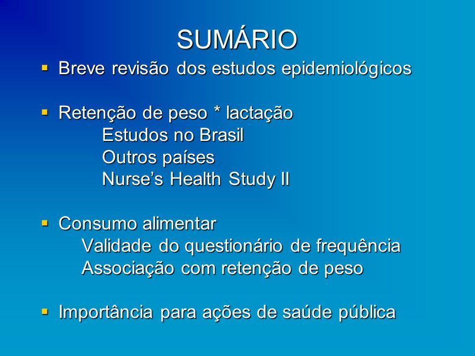 SUMÁRIO Breve revisão dos estudos epidemiológicos Breve revisão dos estudos epidemiológicos Retenção de peso * lactação Retenção de peso * lactação Es