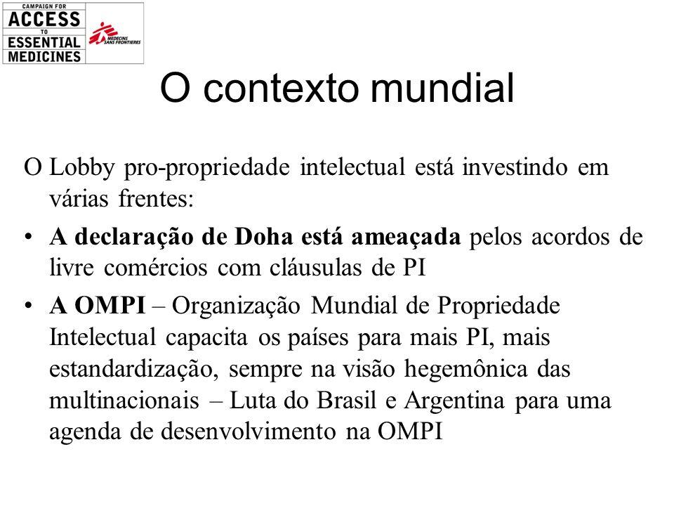 O contexto mundial O Lobby pro-propriedade intelectual está investindo em várias frentes: A declaração de Doha está ameaçada pelos acordos de livre comércios com cláusulas de PI A OMPI – Organização Mundial de Propriedade Intelectual capacita os países para mais PI, mais estandardização, sempre na visão hegemônica das multinacionais – Luta do Brasil e Argentina para uma agenda de desenvolvimento na OMPI