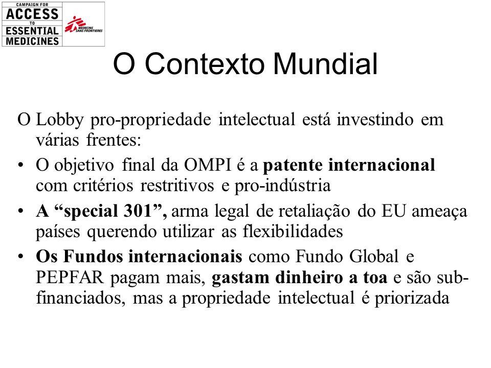 O Contexto Mundial O Lobby pro-propriedade intelectual está investindo em várias frentes: O objetivo final da OMPI é a patente internacional com crité