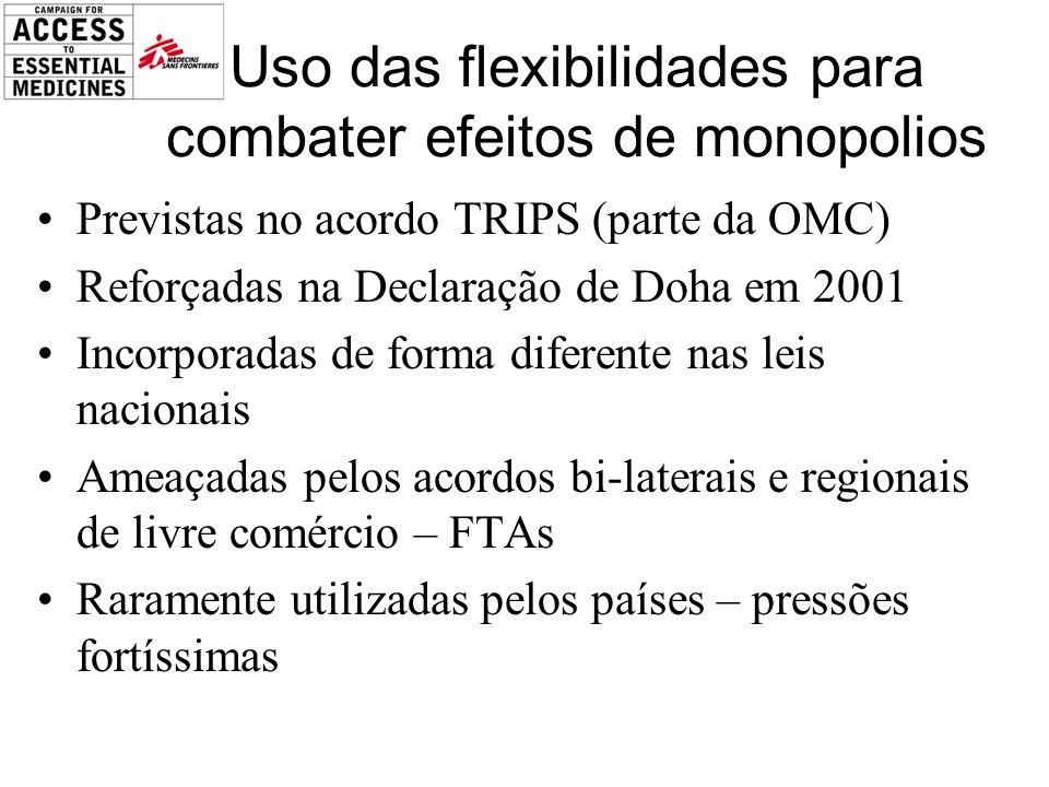 Uso das flexibilidades para combater efeitos de monopolios Previstas no acordo TRIPS (parte da OMC) Reforçadas na Declaração de Doha em 2001 Incorporadas de forma diferente nas leis nacionais Ameaçadas pelos acordos bi-laterais e regionais de livre comércio – FTAs Raramente utilizadas pelos países – pressões fortíssimas