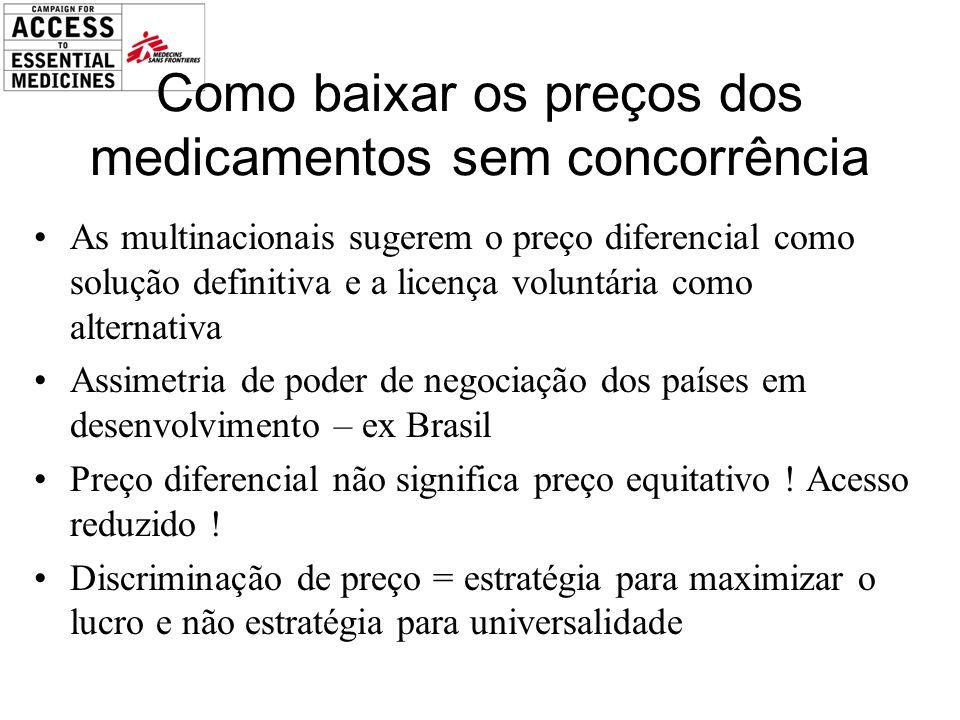 Como baixar os preços dos medicamentos sem concorrência As multinacionais sugerem o preço diferencial como solução definitiva e a licença voluntária c
