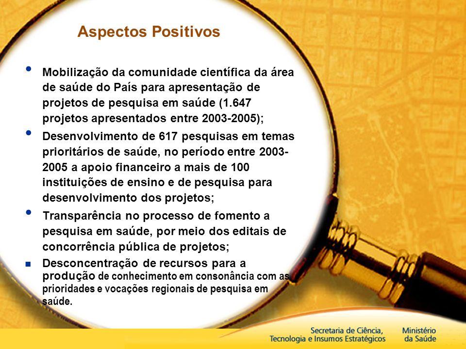 Aspectos Positivos Mobilização da comunidade científica da área de saúde do País para apresentação de projetos de pesquisa em saúde (1.647 projetos ap