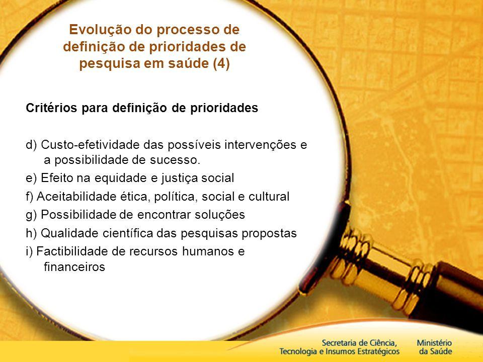 Evolução do processo de definição de prioridades de pesquisa em saúde (4) Critérios para definição de prioridades d) Custo-efetividade das possíveis i